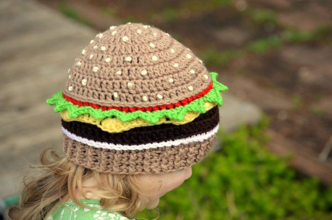 Cheeseburger Beanie | Show your baby how to be a real American with this...cheeseburger beanie..