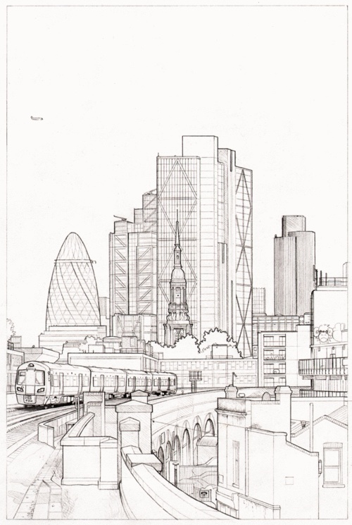 Pencil outline for new cityscape artwork the view south from hoxton station london e2 london illustrationart sketchesart