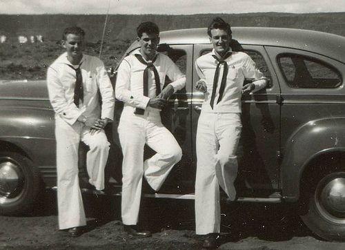 1940s World War 2 Handsome Sailors Coast Guard Uniforms Car Vintage Photo 2 by Christian Montone, via Flickr