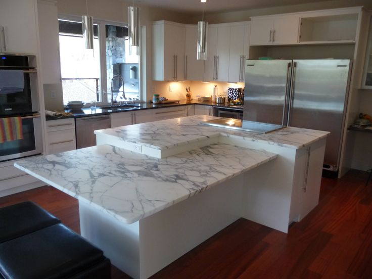 Two Level Kitchen Island In Arabascato Marble And