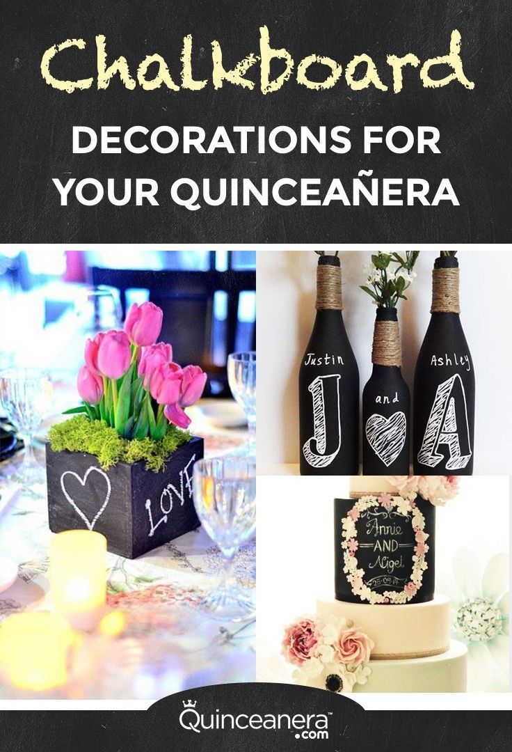 Here are a few ideas if you want to have chalkboard party for your 15th anniversary: - See more at: http://www.quinceanera.com/decorations-themes/adorable-chalkboard-decorations-for-your-quinceanera/?utm_source=pinterest&utm_medium=social&utm_campaign=article-031416-decorations-themes-adorable-chalkboard-decorations-for-your-quinceanera#sthash.xGtrRGSY.dpuf