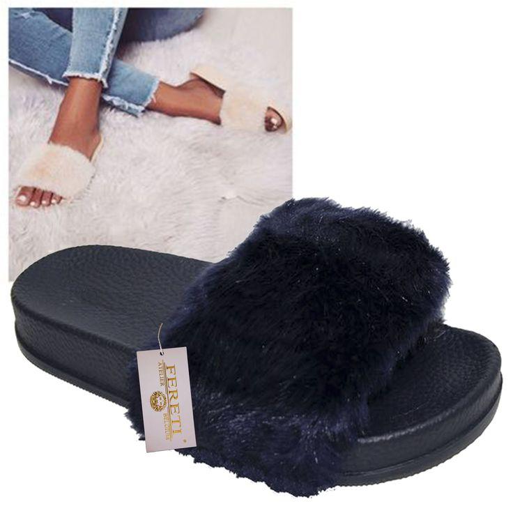 Fereti Donker Blauwe Sandalen Pels Bont Slippers Shoenen Outdoor Blauw