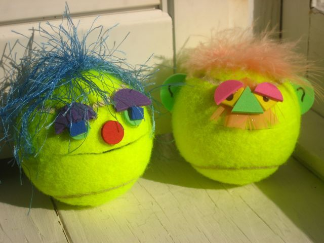 Create tennis ball head to 'feed' (cut a slit for the mouth, add the craft pieces), great hand strength task - could also be count from larger set and place into your creature.