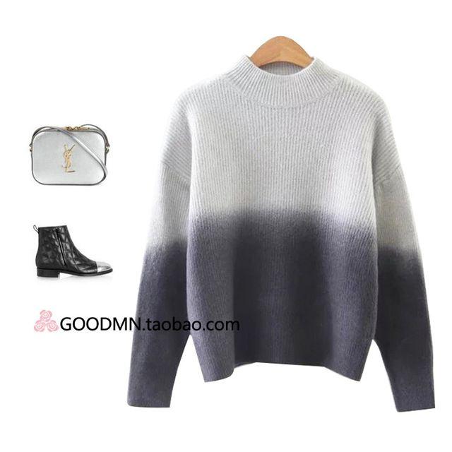 Corée style cut standard dames courtes en tricot à col roulé femelle lapin Rongshan épaissie moitié 9a11c