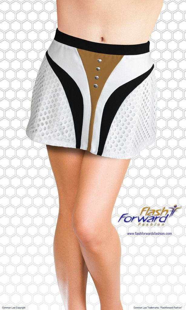 Running -Tennis Skirt (with shorts). Accents of layered mesh fabric, slimming lines of sharp contrasting colors and shiny silver hot fix add some fashion forward flair to any silhouette.