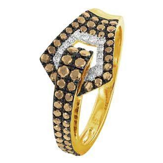 0.53 Carat Champagne Diamond 14K Yellow Gold Women Rings 2.76g: Ring Size: 7 (Sizable)