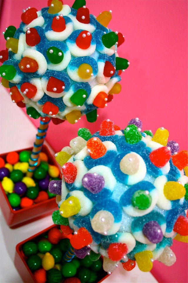 Rainbow Candy Land Centerpiece Topiary Tree, Candy Buffet Decor, Candy Arrangement Wedding, Mitzvah, Party Favor, Candy Creation, Edible Art. $46.99, via Etsy.