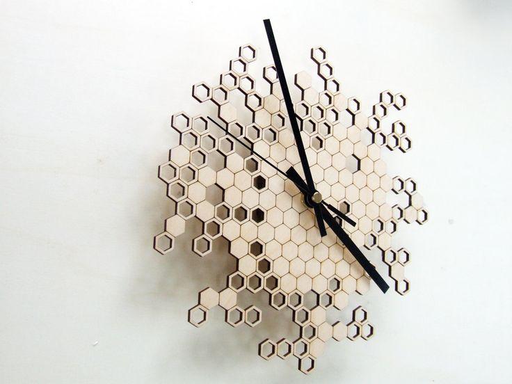 Honeycomb clock - wooden wall clock - modern lasercut clock - beehive - hexagonal geometric clock. €48.00, via Etsy.