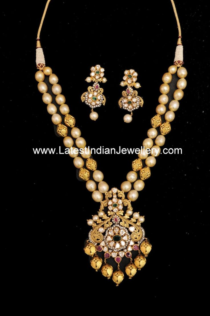 22 carat gold floral designer pendant with multiple beads chain and - Pearl Antique Gold Beads Mala