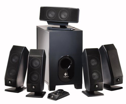 Logitech X-540 5.1 Surround Sound Speaker System with Subwoofer Wired control centre. 5.1 speaker system. Matrix mode. 40 Hz - 20 kHz Frequency Response. Frequency Directed Dual Driver Technology.  #Logitech #Speakers