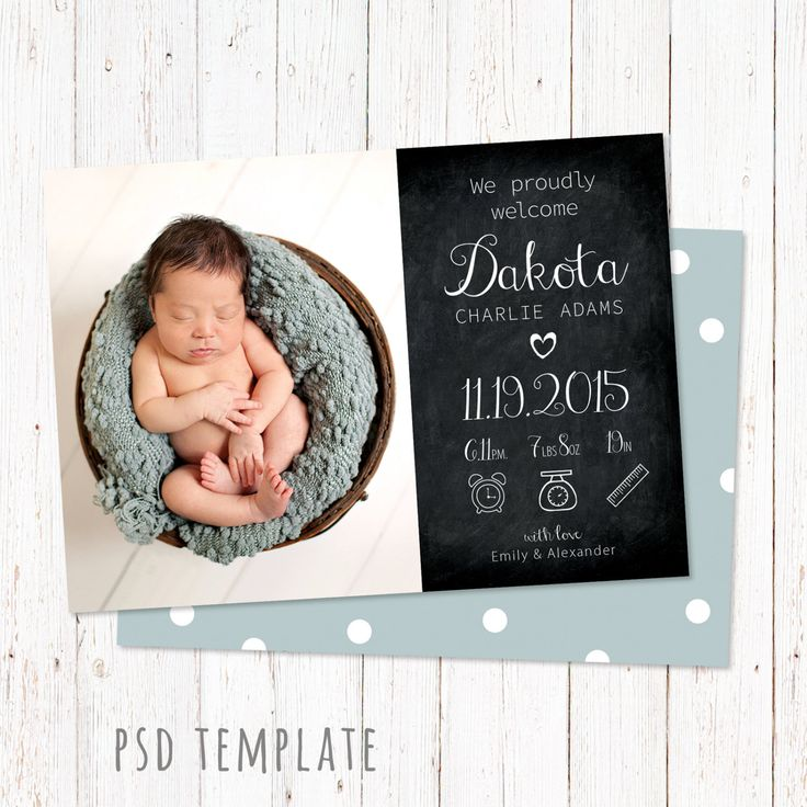 """Birth announcement template card. Digital baby girl & baby boy birth card for instant download. Unisex card. Photoshop PSD files. Size 5x7"""". by PenguinGraphics on Etsy"""