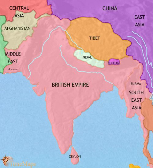 history map of India and South Asia 1914AD