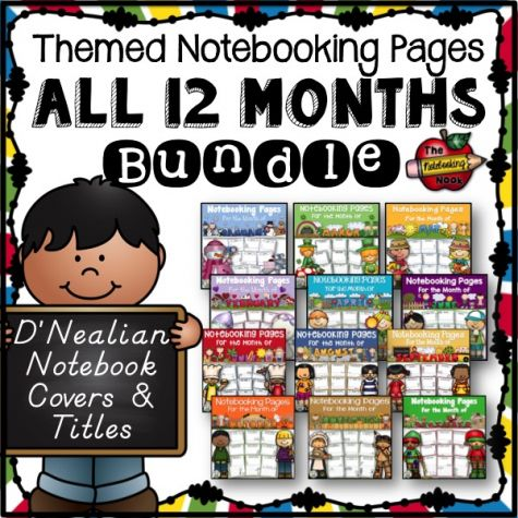 All 12 Months Notebooking Pages Bundle - D'Nealian Manuscript