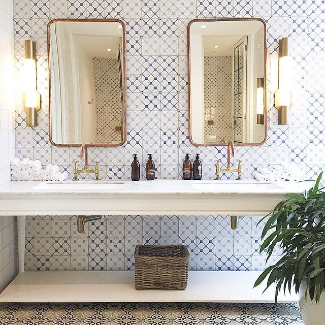 Hotel Bathroom Inspiration L Wallpapered Bathroom L Brass Mirrors And Light  Fixtures