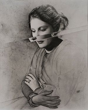 Erwin Blumenfeld, Manina (Solarized and Cut), 1937.  Fellow Vogue photographer Cecil Beaton was initially wary of recommending him, praising his work as 'much more serious, too provoking and better than fashion'