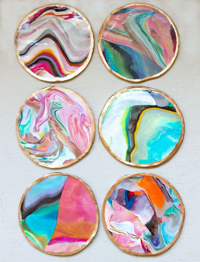 Fun Crafts To Do With Nail Polish | Best Nail Polish Crafts | DIY Projects and Arts and Crafts Ideas Using Nail Polish | DIY Marbled Coasters http://www.thrillbites.com/amazing-nail-polish-craft-ideas
