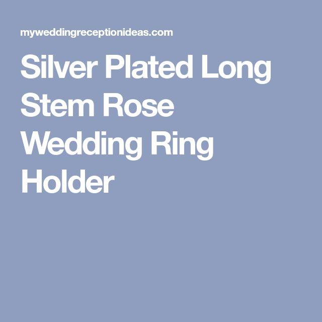 Silver Plated Long Stem Rose Wedding Ring Holder