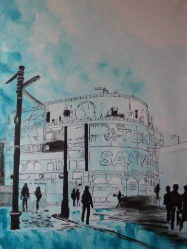 """Saatchi Art Artist Nicole Theresia Spitzwieser; Painting, """"Piccadilly Circus"""" #art"""