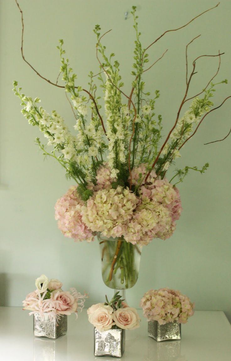 Blush Pink And Green Wedding Centerpieces..... would change pink hydrangeas to more of a cream/ or choose different flowers completely