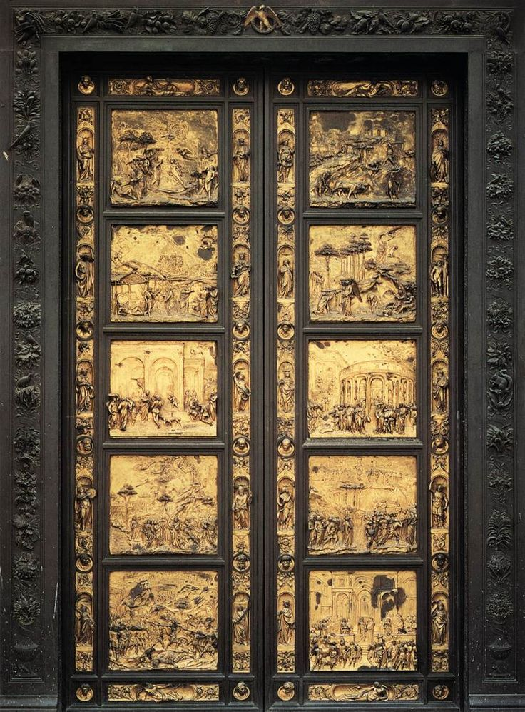 Lorenzo Ghiberti. Eastern Door of the Baptistry in Florence. (Porta del Paradiso)  1425-52  Gilded bronze  Baptistry, Florence