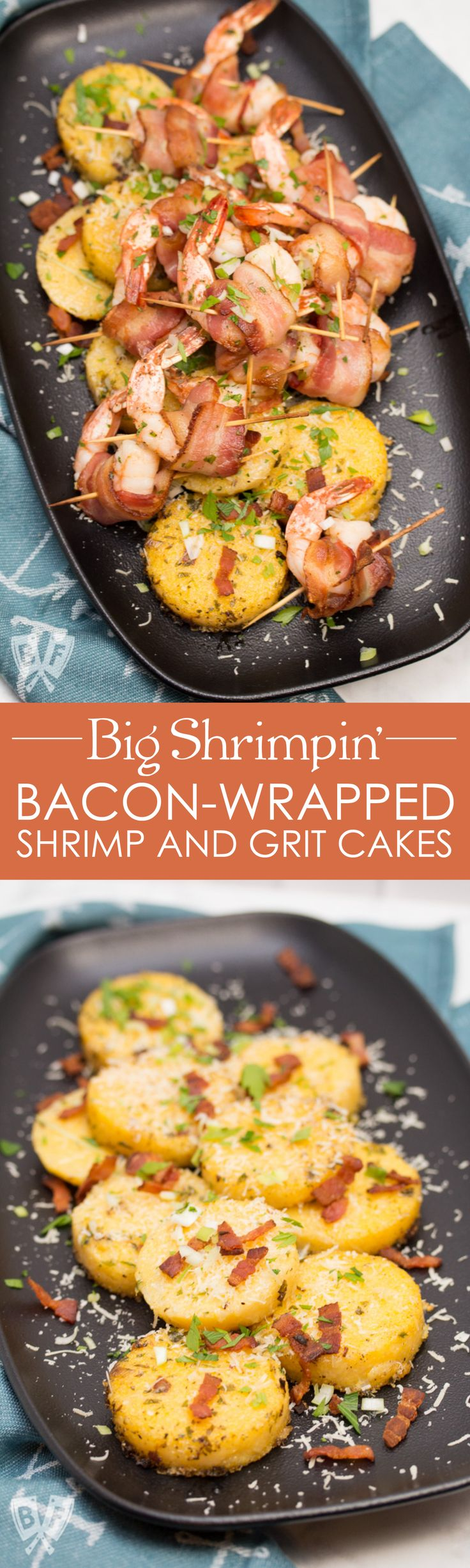 Big Shrimpin' Bacon-Wrapped Shrimp and Grit Cakes: Classic shrimp and grits gets an upscale makeover in this over-the-top, bacon-wrapped presentation. Easy, delicious, and sure to impress your dinner guests! #BaconMonth