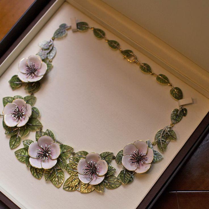 Diamond, plique-à-jour enamel, enamel, silver and gold flower necklace, by Ilgiz Fazulzyanov.