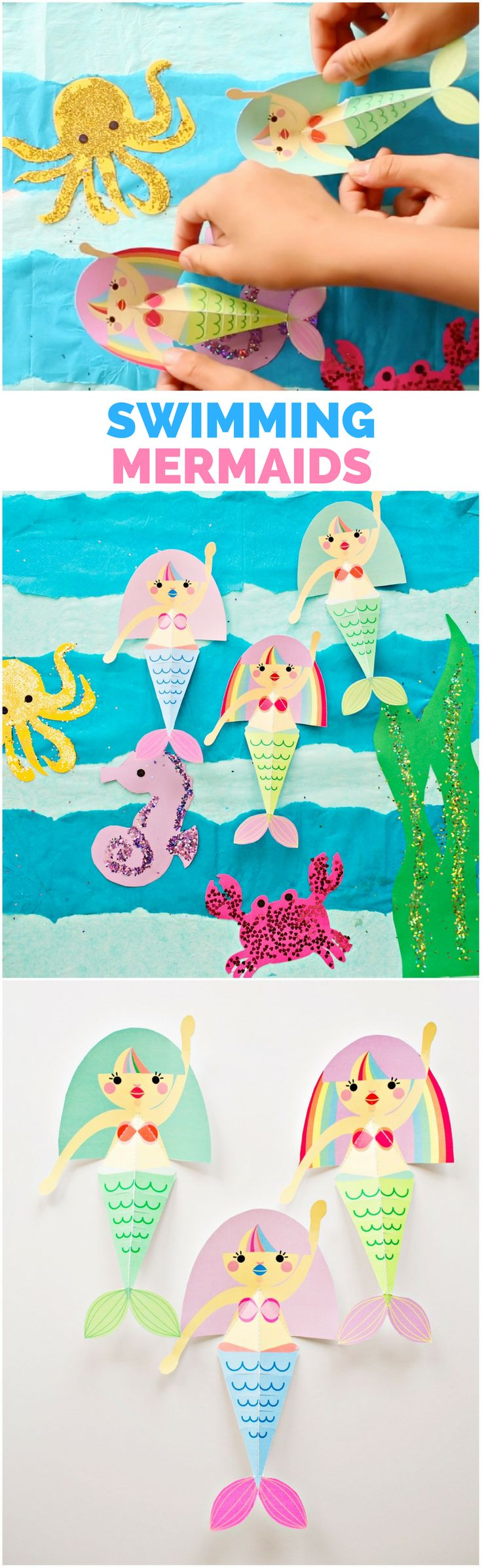 Swimming Mermaid Paper Craft with Free Printable Templates. These cute mermaids actually flap their fins! Blank option to color your own.