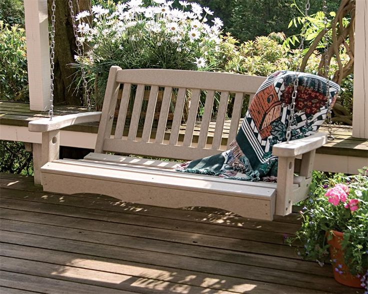 Great American Woodies Lifestyle Recycled Plastic Mission Porch Swing   Porch  Swings At Porch Swings