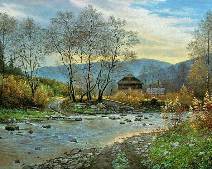 Original Oil Painting Landscape Oil Paintingoriginal Canvas Etsy In 2020 Landscape Paintings Canvas Painting Landscape Large Landscape Painting
