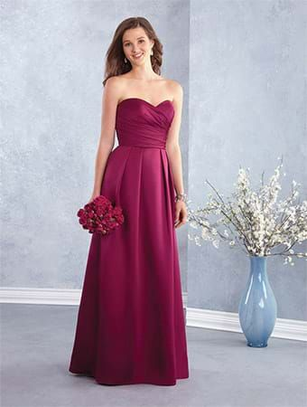 Alfred Angelo Style 7428: strapless satin floor length bridesmaid dress with fully pleated A-line skirt