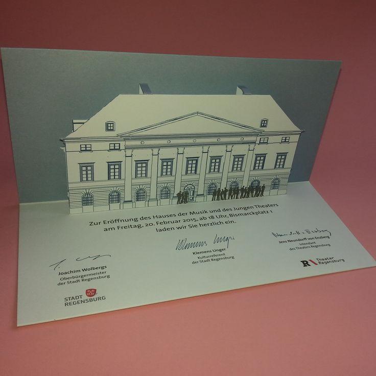 Edle Pop-Up-Karte als Einladung zur einer Eröffnung, gedruckt im Auftrag der Stadt Regensburg/Theater Regensburg
