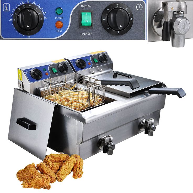 20L Commercial Deep Fryer w/ Timer and Drain Fast Food French Frys Electric #Yescom