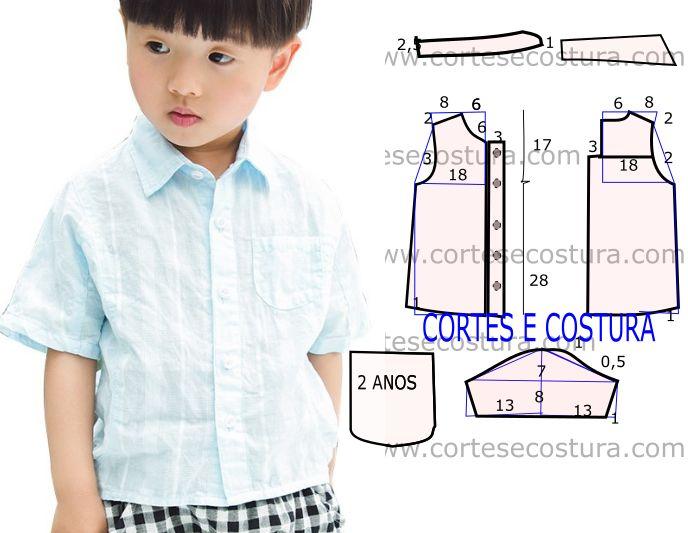 Para responder a alguns pedidos hoje vou abordar o molde de camisa social infantil para idade de 2 anos. A ilustração do molde não tem valor de costura...