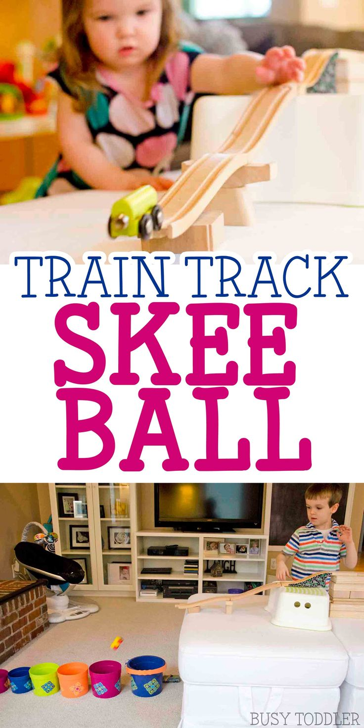 Train Track Skee Ball - check out this awesome indoor activity using wooden train tracks! Inspired by Old Tracks, New Tricks, this easy STEM activity is perfect for toddlers and preschoolers. A quick and easy family activity.
