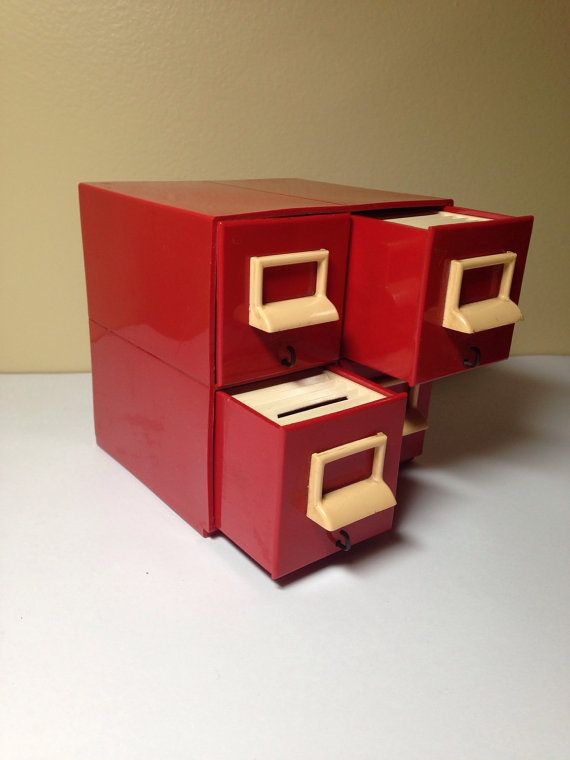 $9.25 Vintage plastic file cabinet bank for kids by BirdWithAFish on Etsy
