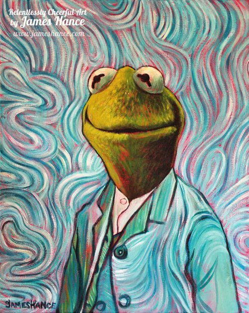 Self-Portrait by Vincent Van Gogh: Kermit by James Hance