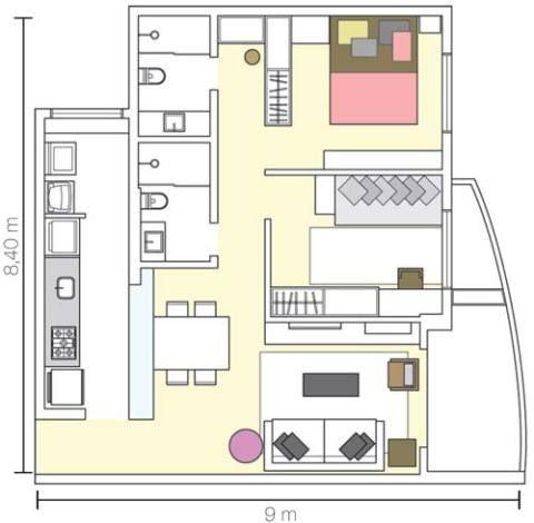 Estreita e comprida, a cozinha foi aberta para a sala e ganhou mais amplitude. Porém, habituada a hospedar familiares e amigos, a moradora preferiu não integrar o segundo quarto à sala. Projeto de Carla Basiches.