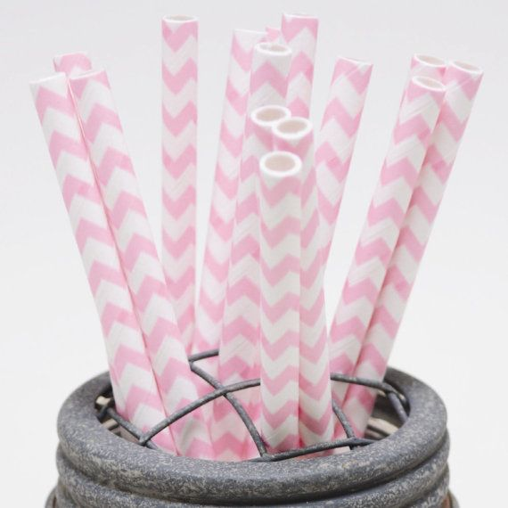 100 Cotton Candy Pink Chevron Paper Straws  Perfect by InTheClear