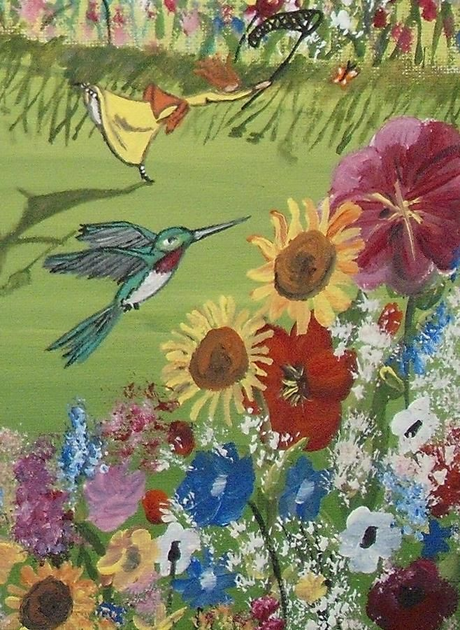 Hummingbird Painting - Hummingbird In The Garden by Christine Janeway
