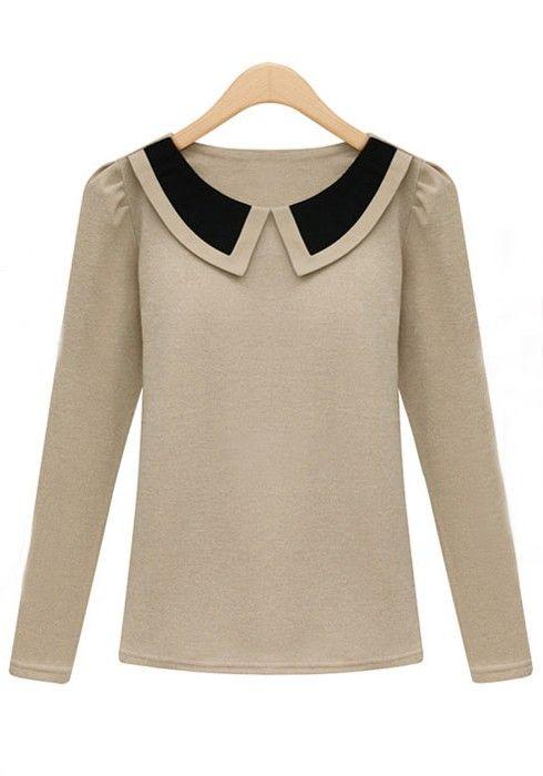 Apricot Lapel Long Sleeve Wrap Cotton T-Shirt $42