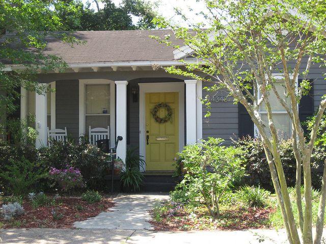 Yellow Front Door W Gray Siding Exterior Blue Grey