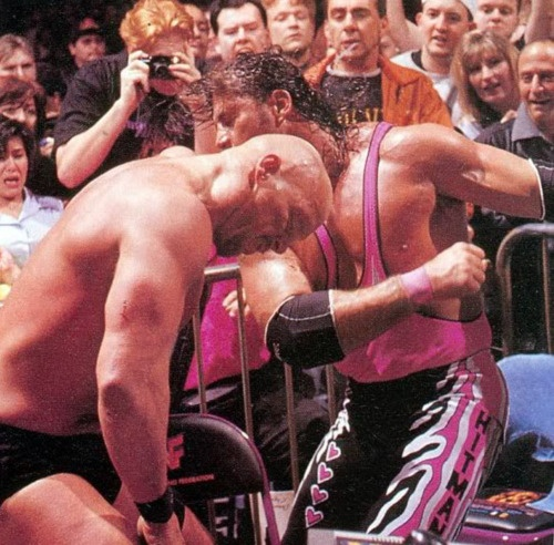 Bret Hitman Hart vs Stone Cold Steve Austin in submission match at WrestleMania 13 in Chicago, Illinois.