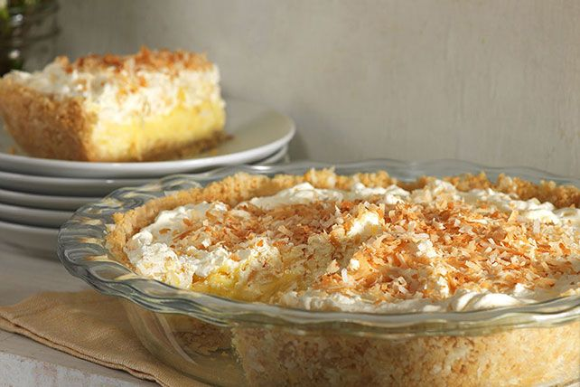 Bananas, pineapples and coconut add tropical flavors to this luscious cream pie. It's perfection in a shortbread cookie crumb crust.