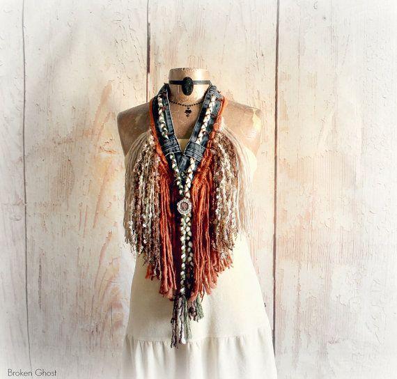 Cowgirl sjaal rustieke westerse Boho Fringe ketting Indian Head Penny Mori meisje land kleding bruin Tribal sjaal Boheemse Festival