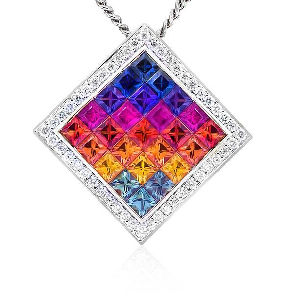 Colour your world with this vibrant Kaleidoscope sapphire and diamond pendant. Crafted in 18ct white gold. Length 23mm. The 18ct gold chain…