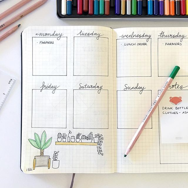My first time trying a weekly planning spread in my Bullet Journal, ahead of my daily logs for the week. (And still doodling indoor plants!)