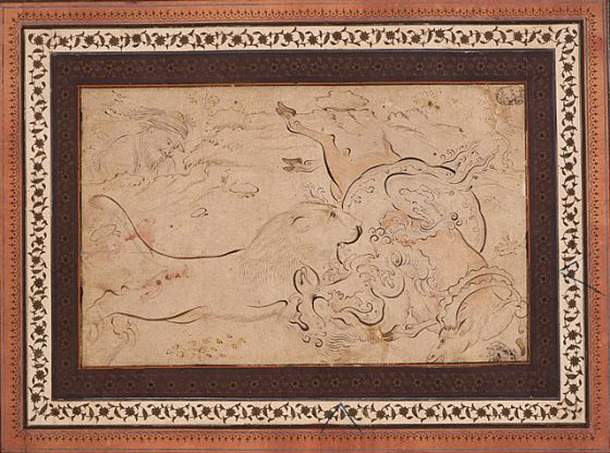 Lion Attacking a Dragon Wrapped around a Ram Iran, Isfahan, dated AH 27 Rajab 1103/ AD April 14, 1692 Ink and color washes on paper 5 x 8 in. (12.75 x 20.25 cm) LACMA Collections