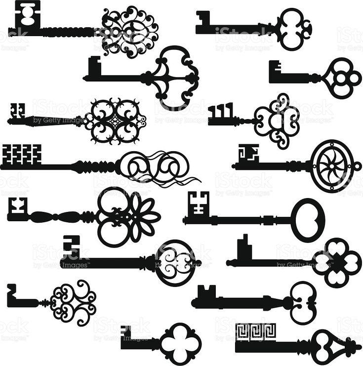 Conjunto de siluetas de los antiguos CLAVE royalty-free stock vector art