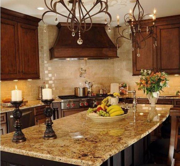 Elegant Chandeliers, Led Lighting Under The Cabinets And Tabletop Candle  Tuscan Decorating Ideas For Kitchen