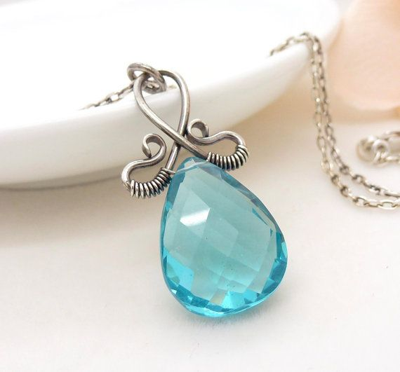 Aqua blue necklace, Sterling silver wire wrapped necklace, Handmade sky blue quartz necklace, Aqua jewelry via Etsy